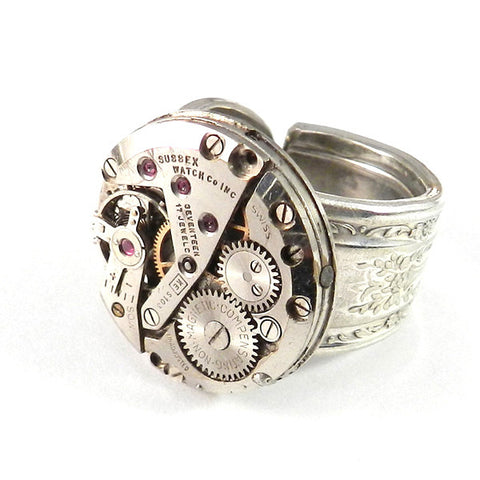 Industrial Ring - Mechanical Watch on Vintage Spoon Ring - Sussex - Size 5.5