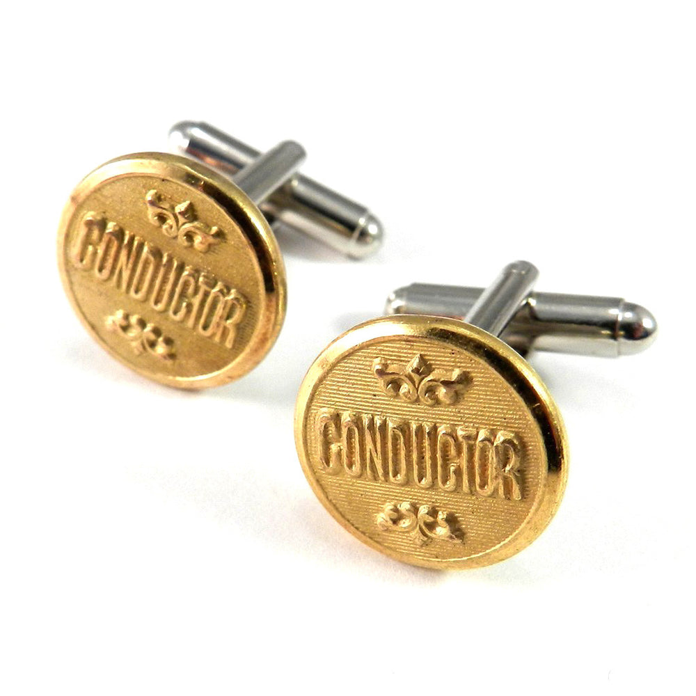 Conductor Vintage Railroad Button Cuff Links - Brass