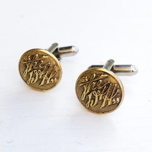 D&H Delaware & Hudson Railroad Button Cufflinks - Brass