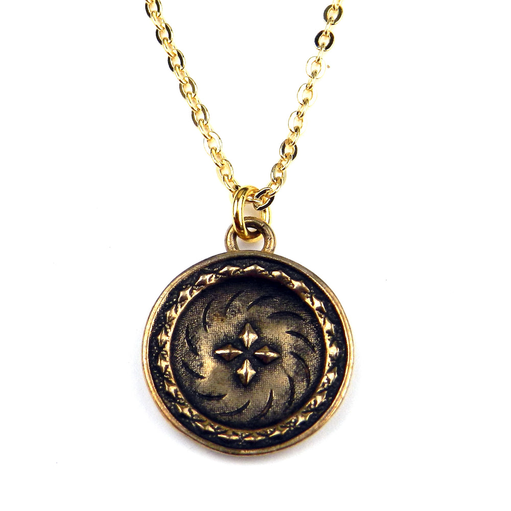 FOUR DIRECTIONS - Classic Antique Button Necklace - GOLD