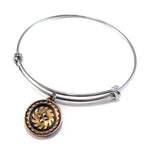 FOUR DIRECTIONS Antique Button Bangle Charm Bracelet - MIXED METAL