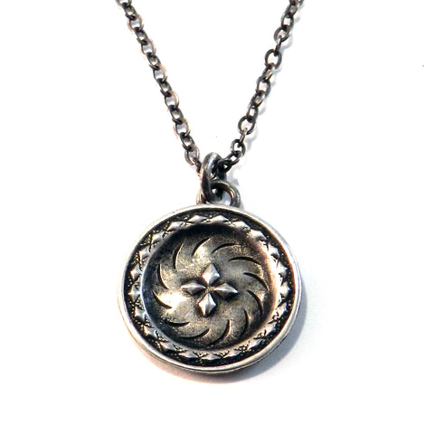 DIRECTIONS Antique Button Necklace - Sterling Silver