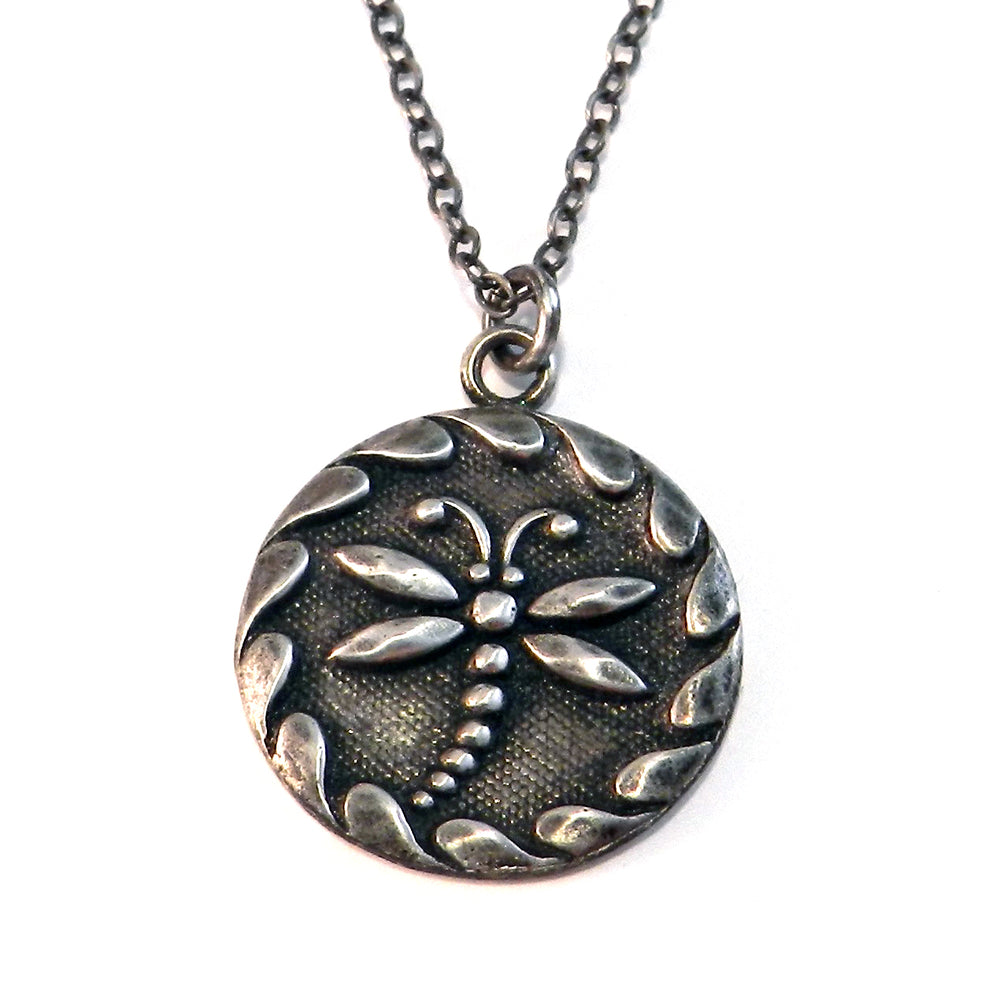 DRAGONFLY Antique Button Classic Necklace - SILVER
