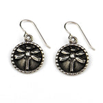 DRAGONFLY Vintage Button Earrings - SILVER
