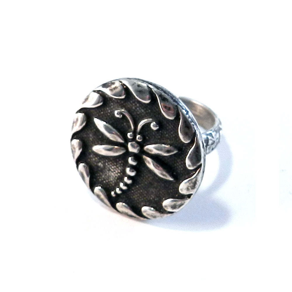 DRAGONFLY Antique Button Statement Ring - SILVER