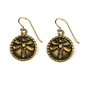 DRAGONFLY Vintage Button Earrings - GOLD