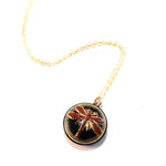 SCARLET DRAGONFLY Petite Vintage Button Necklace - GOLD