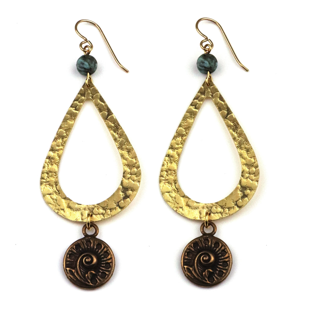 FERN / NAUTILUS Teardrop Earrings - GOLD