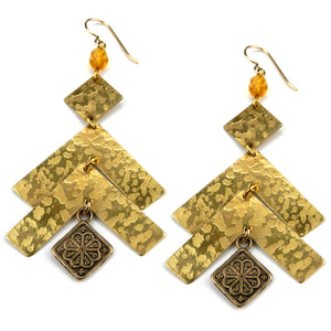 HARMONY Arrow Earrings - GOLD w/ amber