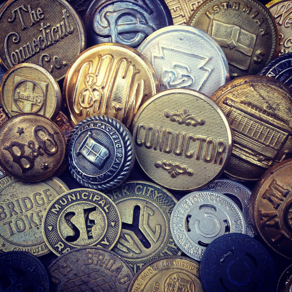 antique vintage train railroad buttons