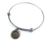 BEEHIVE Antique Button Bangle Charm Bracelet - SILVER