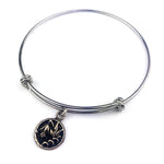 LILY Antique Button Bangle Charm Bracelet - SILVER