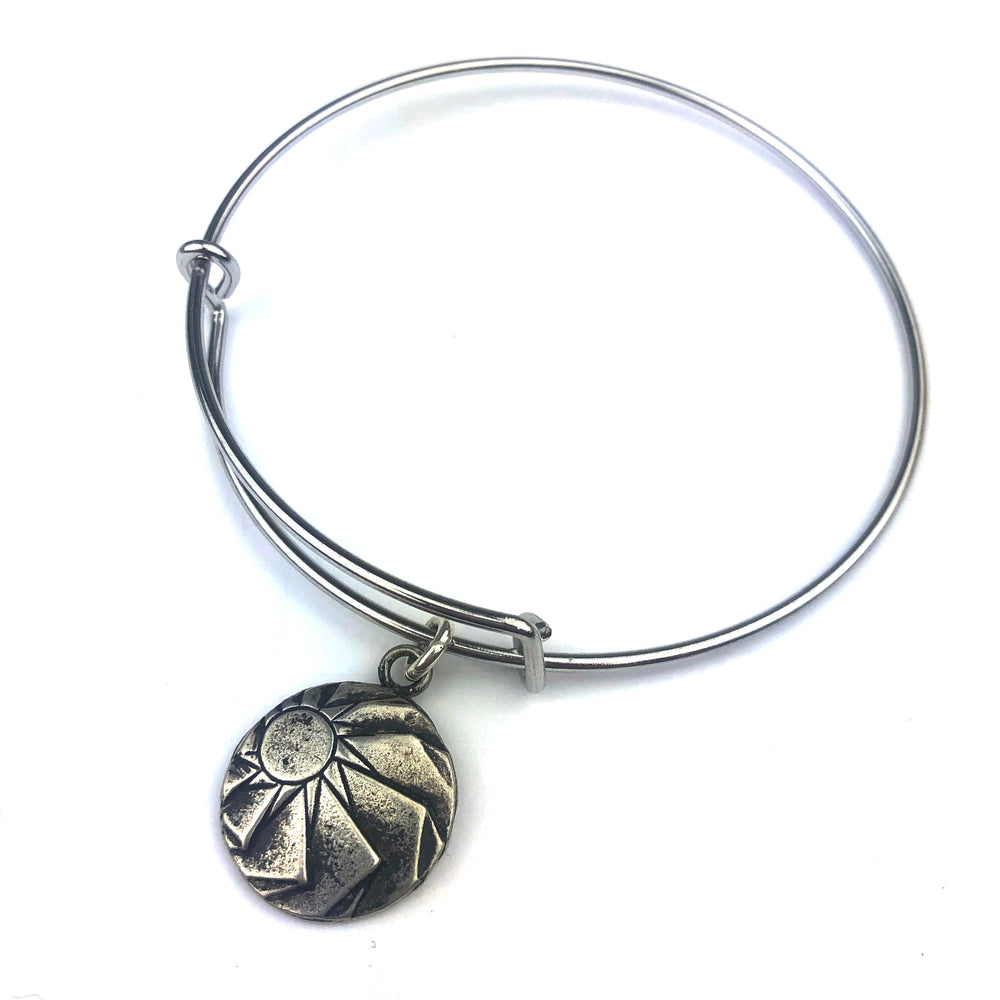 HORIZONS Antique Button Bangle Charm Bracelet - SILVER