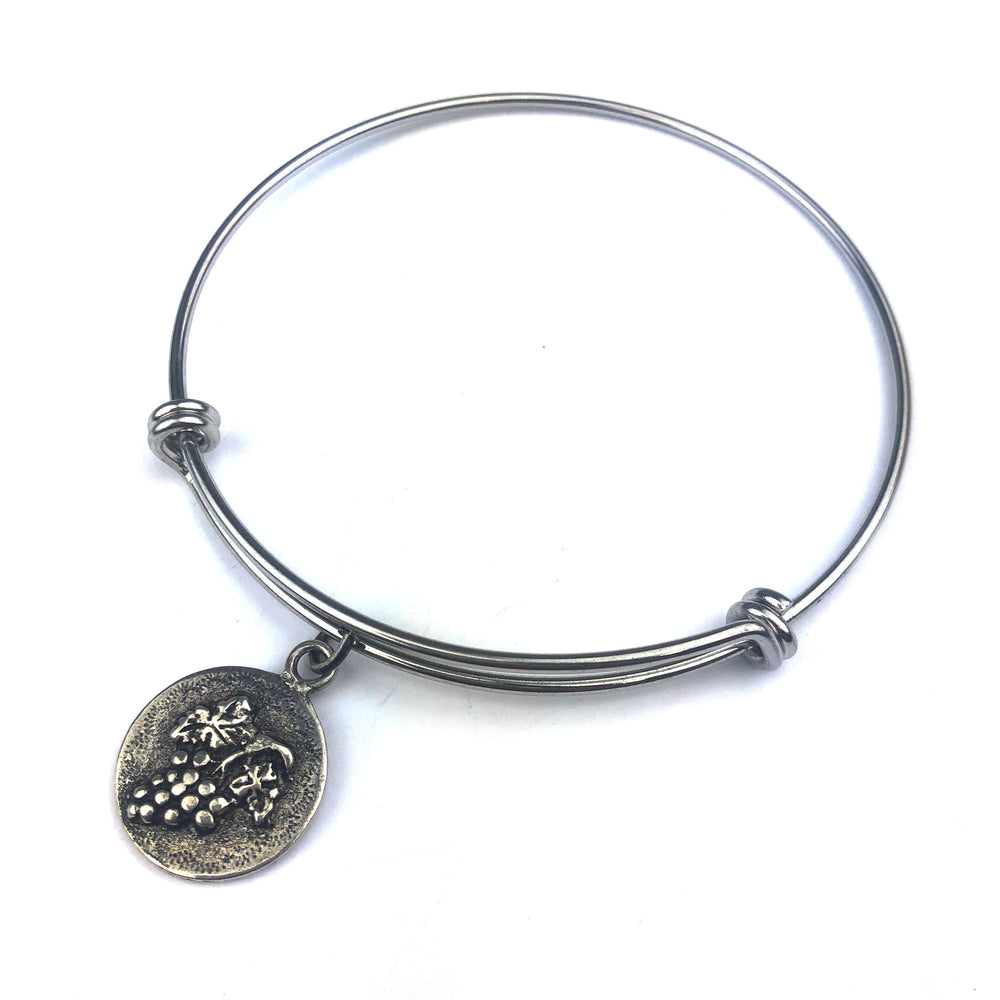 HARVEST GRAPE Antique Button Bangle Charm Bracelet - SILVER