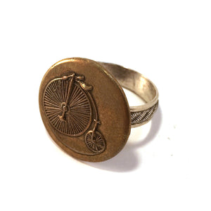LARGE VINTAGE BICYCLE Antique Button Ring - MIXED METAL