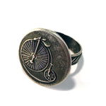 LARGE VINTAGE BICYCLE Antique Button Ring - SILVER