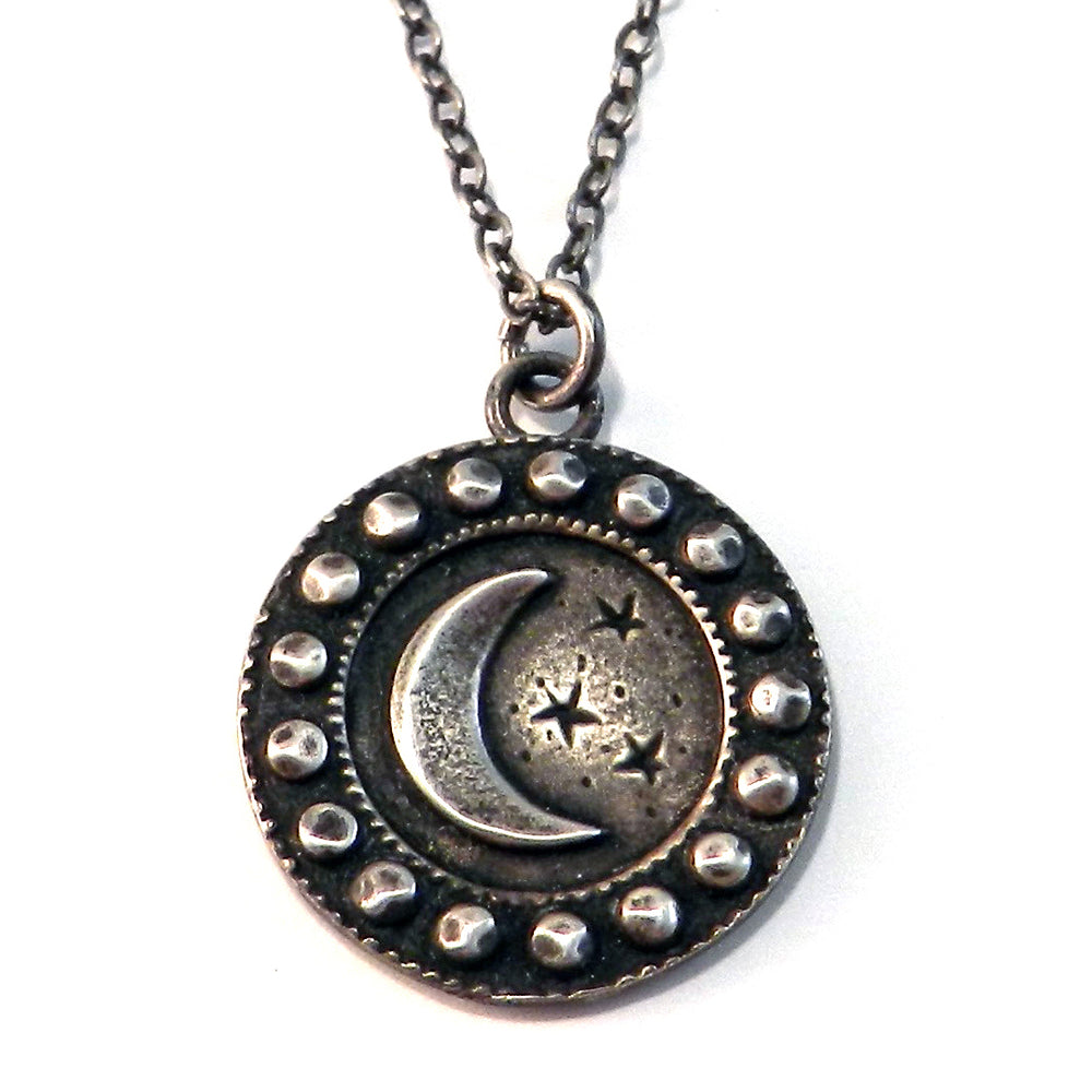 CRESCENT MOON (Lg.) Antique Button Necklace - SILVER