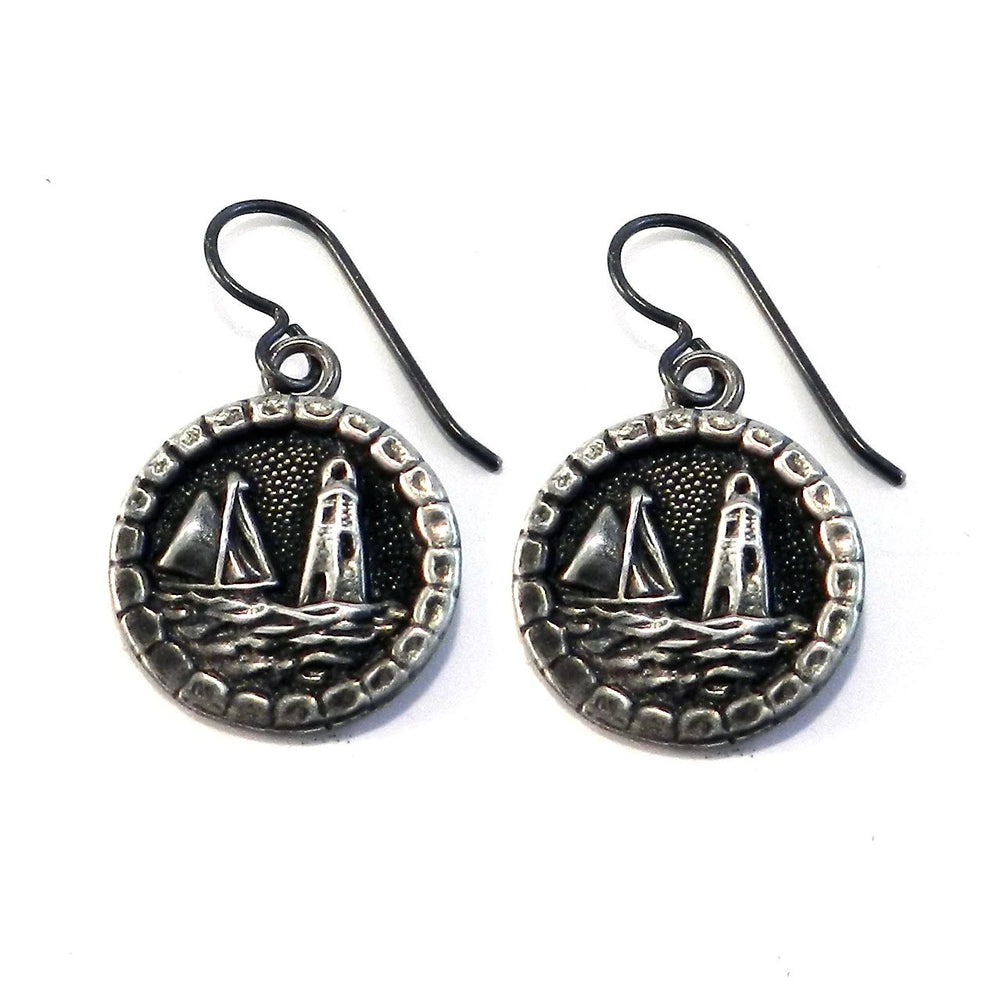 LIGHTHOUSE Vintage Button Earrings - SILVER