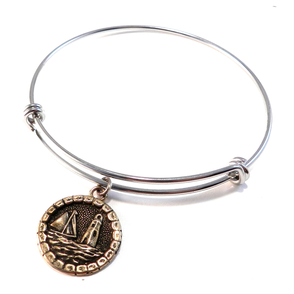 LIGHTHOUSE Antique Button Bangle Charm Bracelet - MIXED METAL