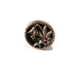 LILY Antique Button Lapel or Hat Pin - SILVER or BRONZE