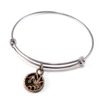 Lily Antique Button Bangle Charm Bracelet - MIXED METAL