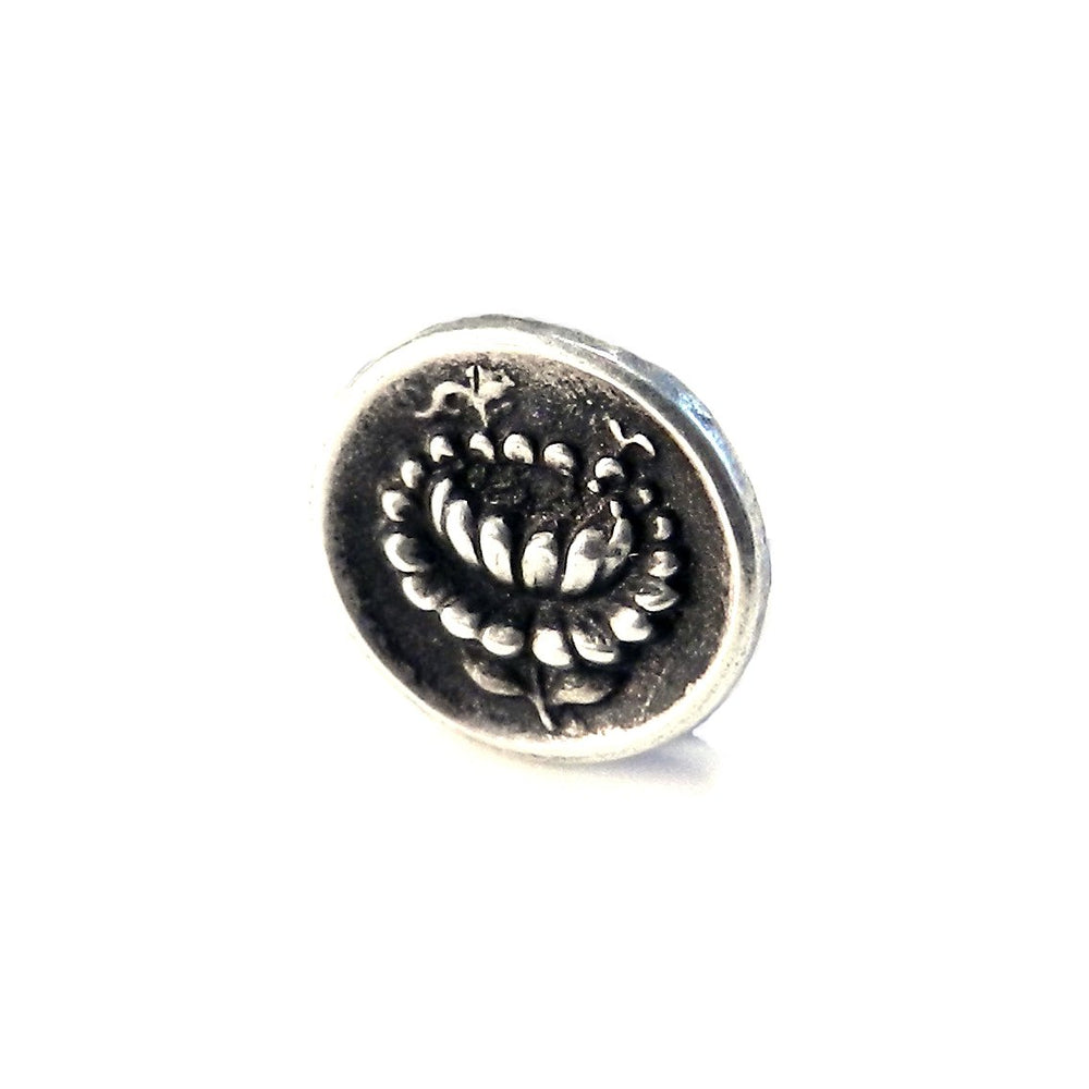 LOTUS Antique Button Lapel or Hat Pin - SILVER or BRONZE