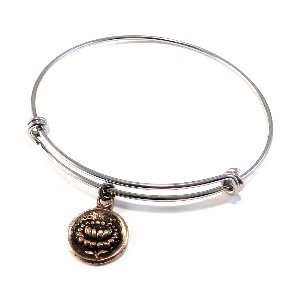LOTUS Antique Button Bangle Charm Bracelet - MIXED METAL
