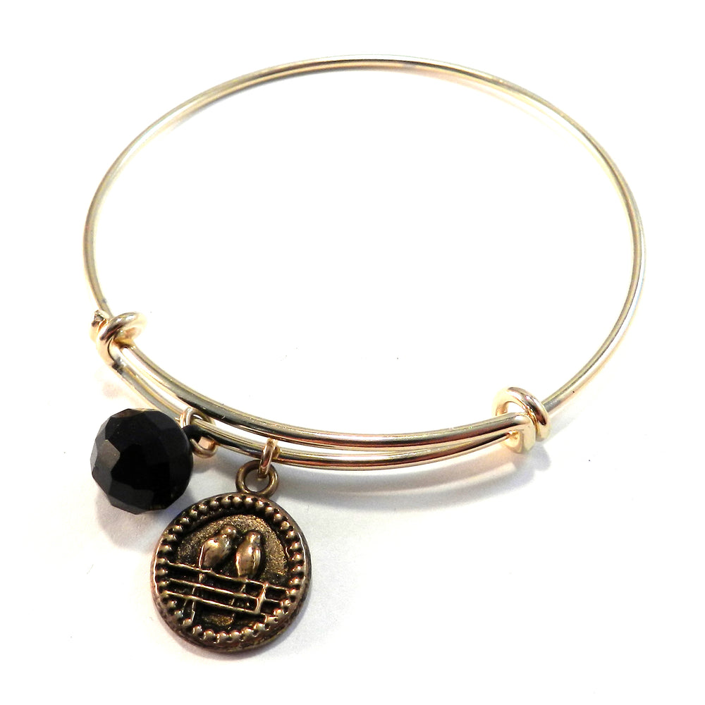LOVEBIRD Antique Button Bangle Charm Bracelet - BRONZE