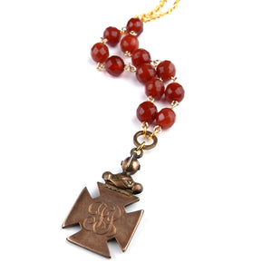 Maple Leaf Carnelian Watch Fob Necklace