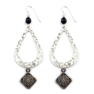 MANDALA Teardrop Earrings - SILVER