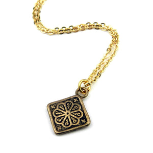 MANDALA Vintage Button Necklace - GOLD