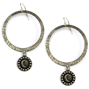 CRESCENT MOON Vintage Button Halo Earring - Silver