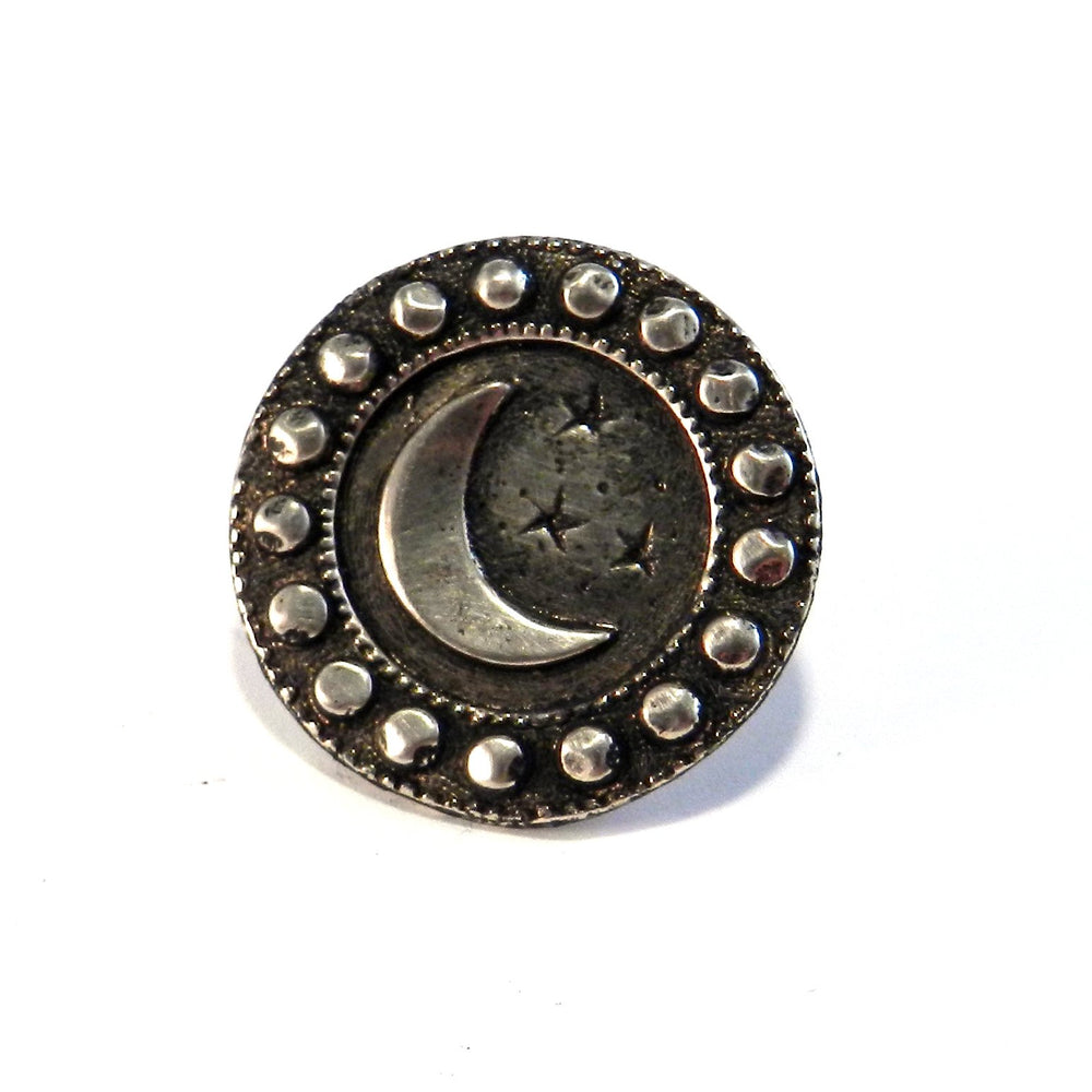 CRESCENT MOON Lg Antique Button Lapel or Hat Pin - SILVER or BRONZE