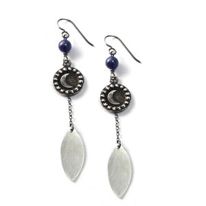 CRESCENT MOON Petal Earrings - SILVER