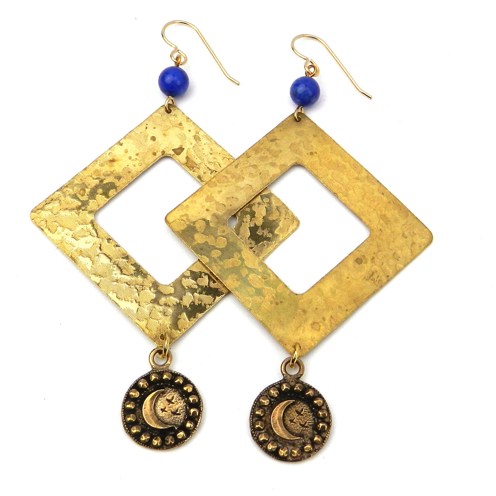 MOON Pinnacle Earrings - GOLD and Lapis