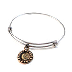 CRESCENT MOON Antique Button Bangle Charm Bracelet - MIXED METAL