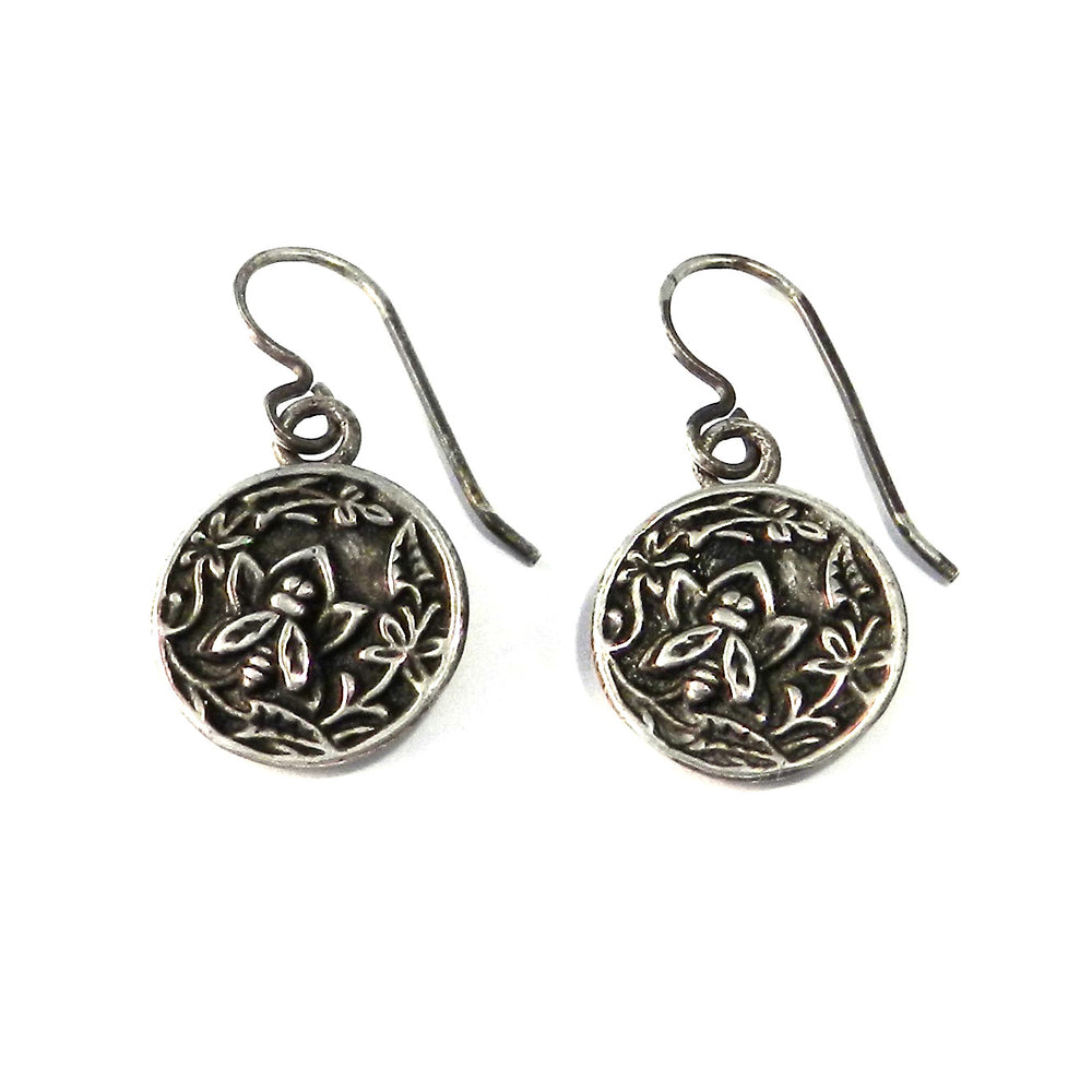 NECTAR Antique Button Earrings - Sterling Silver