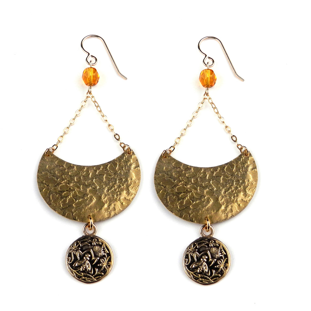 NECTAR Vintage Button LUNA Earring - Gold