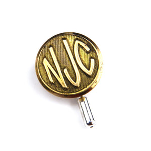 New Jersey Central Railway Vintage Button Pin - Brass