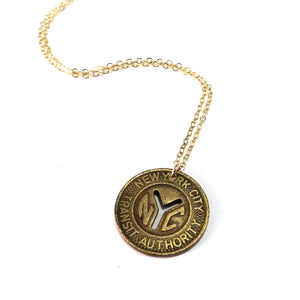 Vintage Travel Token Necklace - New York (Lg)