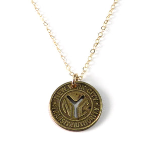 Vintage Travel Token Necklace - New York