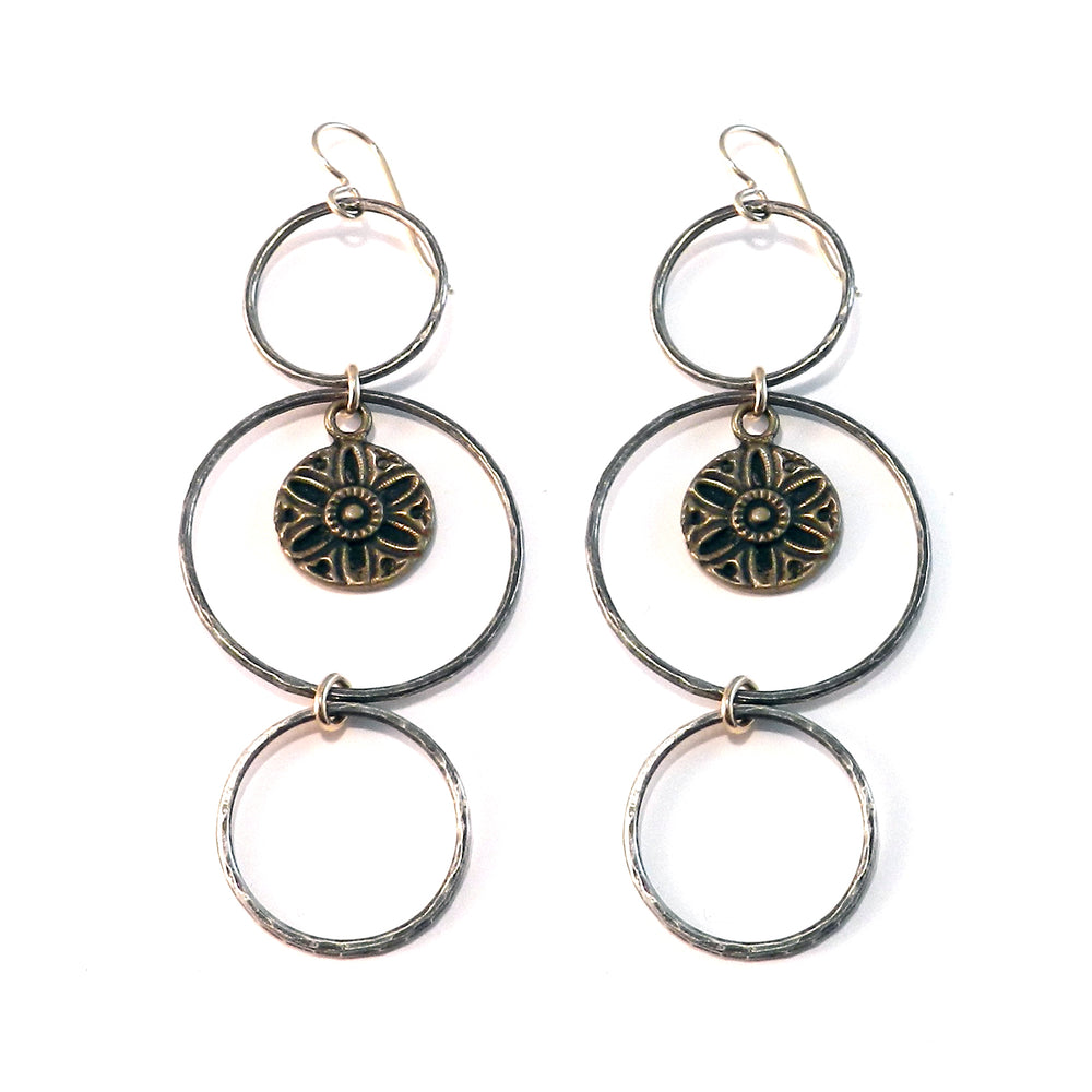 SUNLIGHT Antique Button Trilogy Earrings - MIXED METAL