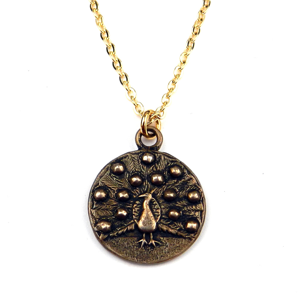 PEACOCK Antique Button Necklace - GOLD