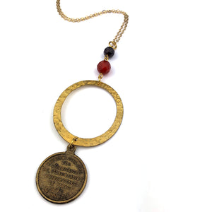 1878 Paris Expo Vintage Medal Necklace - Carnelian and Garnet