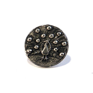 PEACOCK Antique Button Lapel or Hat Pin - SILVER or BRONZE