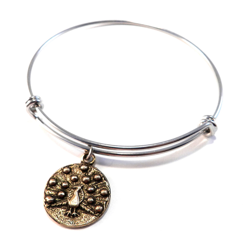 PEACOCK Antique Button Bangle Charm Bracelet - MIXED METAL