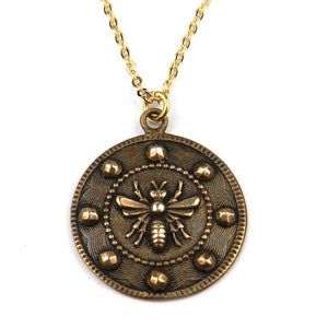 QUEEN BEE (Lg) Vintage Button Necklace - GOLD