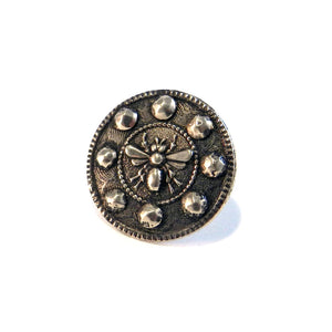 QUEEN BEE Antique Button Lapel or Hat Pin - SILVER or BRONZE