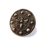 QUEEN BEE Lg Antique Button Lapel or Hat Pin - SILVER or BRONZE