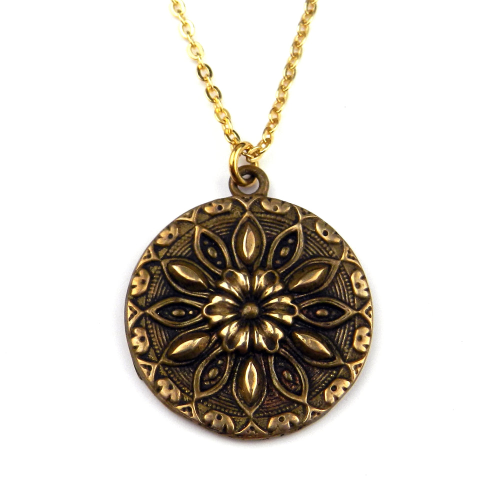 SUNFLOWER / RADIANCE Antique Button Necklace - GOLD